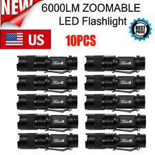 10PC 6000LM MiNi Tactical CREE Q5 LED Flashlight Torch Zoomable Lamp Power US TL