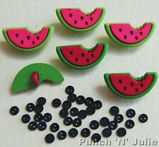 WATERMELONS - Fruit Slice Food Picnic Summer Seeds Novelty Dress It Up Buttons