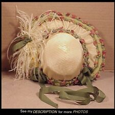 Antique Victorian Doll's Hat with Ostrich Feathers for French Bisque, China Head