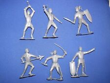 "MARX MEDIEVAL KNIGHTS RECAST SILVER 6"" SIX DIFFERENT POSITIONS, DETAILED FIGURES"