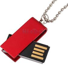 New USB 2.0 1GB 1G 1 GB Rotatable Flash Memory Drive With Necklace Red HK