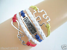 New Infinity Love/Believe/Puzzle Autism Charms Leather Braided Bracelet Nice