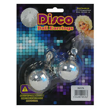 DISCO BALL EARRINGS FOR FANCY DRESS PARTY ACCESSORIES ONE SIZE