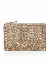 ACCESSORIZE Cleo Gold Beaded Embellished Gold/Bronze Metallic Clutch Bag BNWT