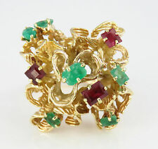 NYJEWEL 14k Solid Gold Brand New Fabulous Stylish Emerald Ruby Cocktail Ring