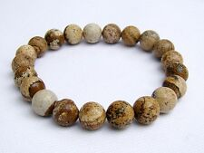 Men's Natural Gemstone Bracelet Picture Jasper 10mm beads 8inch elasticated