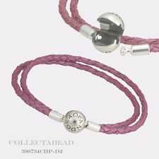 "Authentic Pandora Honeysuckle Pink Braided Leather Bracelet 16.1"" 590734CHP-D3"
