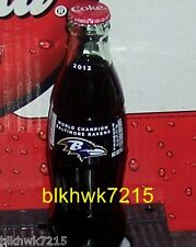 BALTIMORE RAVENS 2012 WORLD CHAMPIONS  8 OUNCE COCA - COLA GLASS BOTTLE