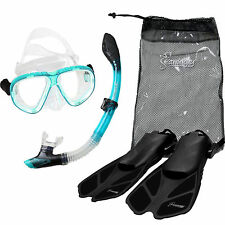 Seavenger Diving Set (Teal)S/M Adult Size Dry Snorkel Trek Fin Mask Gear Bag