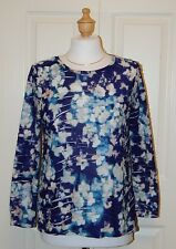 SIMPLY VERA VERA WANG Size PM Floral Print Crinkle Long Sleeve KNit Top
