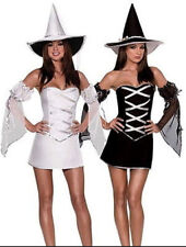 Womens WHITE WITCH HALLOWEEN HORROR Fancy Dress Costume Outfit
