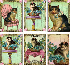 Vintage inspired cat small note card tags ATC altered art set of 5