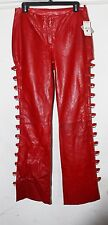 NEW Wilson's Leather MAXIMA Red Leather Pants Women SZ 8 SNAKESKIN TEXTURE $199
