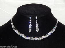 Wedding Silver Clear Round And Marquise Crystal Necklace & Drop Earrings Set