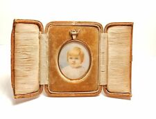Miniature hand painted in 9 carat gold frame early victorian antique