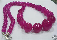 """New 6-14mm Natural Rose Red Jade Round Gemstone Tower Beads Necklace 17.5"""" AAA"""