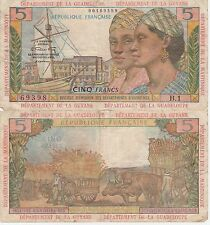 French Antilles-Guyane-Guadeloupe-Martinque 5 Francs Banknote,1964 ChVG Cat#7-A