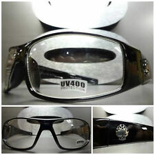 New MOTORCYCLE BIKER SPORT WRAP Day RIDING Clear Lens SUN GLASSES Black Frame