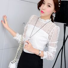 Fashion Women Elegant Hollow Lace Stand Collar Long Sleeve Blouse Slim Shirt Top