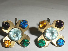Vintage early  Sterling Silver  with stones earrings possibly mexican
