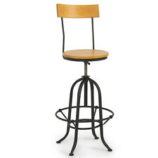 Rustic Bar Stools Vintage Industrial Wood Adjustable Seat Kitchen Rustic Design