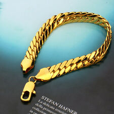"Noble Men's 24k Yellow Gold Filled Bracelet Solid Chain 235mm/9.2"" GF Jewelry"