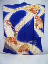 Vintage Japanese Woman KIMONO Furisode Hand Drawing Dyeing Embroidery Silk P379