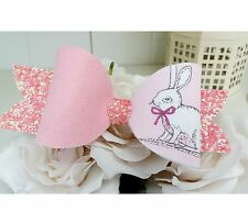 Large Easter Bunny Glitter Artisan Fabric Hair Bow Clip 5""