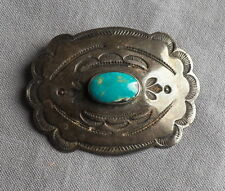 Vintage Fred Harvey Era Stamped Silver Turquoise Concho Pin