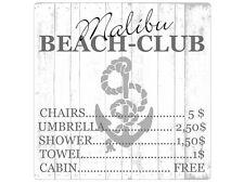 20x20cm Shabby METALLSCHILD Blechschild MALIBU BEACH CLUB Dekoschild Strand Meer