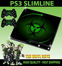PLAYSTATION PS3 SLIM STICKER GREEN BIO HAZARD DANGER STYLE SKIN & 2 PAD SKINS