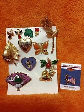 Ladies Pin/Brooch - Lot Of 11! Christmas Bell, Angels, Leaf, Rose, Butterfly