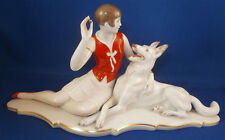 Superb Rosenthal Art Deco Porcelain Figurine Lady & Dog Porzellan Figur Figure
