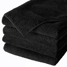 24 BLACK MICROFIBER TOWELS NEW CLEANING CLOTHS BULK 16X16 MANUFACTURERS SALE