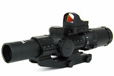 TacFire 1-4 x24mm Illuminated Mil Dot Rifle Scope w/Mini Red Dot & Cantilever