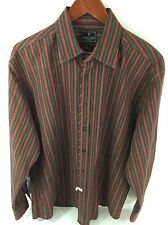 MARC ECKO Mens XL Brown & Maroon Long Sleeve Button Front