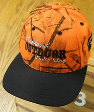 NEW MONTANA OUTDOOR RADIO SHOW ORANGE CAMO EMBROIDERED LETTERING & RAINBOW TROUT