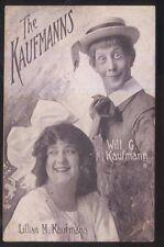 POSTCARD WILL G. & LILLIAN KAUFMANN VAUDVILLE ACT PROMO AD 1913