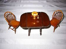 """""DOUBLE DROP LEAF KITCHEN TABLE, 2 CHAIRS, PUNCH BOWL"""" - DOLL HOUSE FURNITURE"