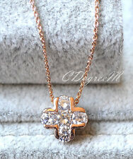 18K Rose Gold GP Swarovski Crystal Small Cross Fine Chain Necklace