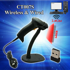 High Quality CT007S 2.4G Wireless Laser Barcode Scanner With Stand Fr Windows CE
