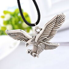 1PC Men's Women's Eagle Silver Pendant Necklaces Black Wax Rope Chain Charm