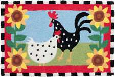 Funky Chickens Area Accent Rug Rooster Washable Doormat Kitchen Mat