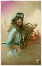 1920's Child Young TENNIS GIRL w/ Racquet tinted photo postcard