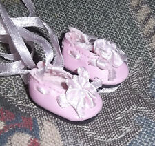 "Pink Ballet Doll Shoes Pink Satin Ribbon fit 8"" Alexander & Ginny 1-1/16""L"
