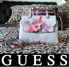 GUESS Ashville Bag FLORAL White PINK ROSES Mini Satchel CROSSBODY LOGO Purse NWT