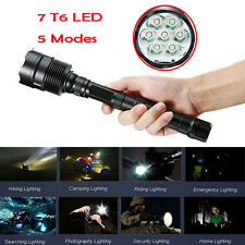 35000Lm 7x CREE XM-L T6 LED 5-Mode 18650 Tactical Flashlight Torch Hunting Lamp