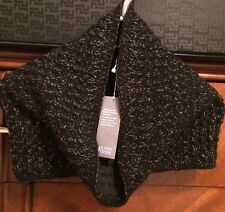 Eileen Fisher Black W/Gold Hand Knit Infinity Scarf Wool/Yak NWT $168