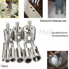 10Pcs 6-30mm Diamond Coated Hole Saw Core Drill Bit For Tile Glass Slate Marble