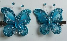 2 Girls 6 cm Butterfly Hairclips DARK TURQUOISE TEAL.4.5mm Croc clip x 2